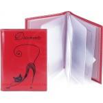 Обложка для автодокументов натуральная кожа «Изящная кошка». BV.35.SH.красный.90х 125 мм.