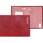 Обложка для паспорта н/к,   крок;   бордо;   тисн-PASSPORT