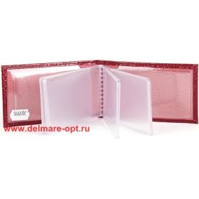 Визитница горизонтальная    (вкл 18 л)    н/к,    крок бордо;    тисн-CARDS
