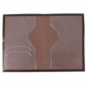 Обложка для паспорта н/к,   глад;   коричневый;   тисн-PASSPORT