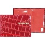 Обложка для паспорта н/к,   крок;   красный   (киров);    тисн PASSPORT