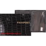 Обложка для паспорта н/к,   крок;   черный крупный   (киров);    тисн PASSPORT