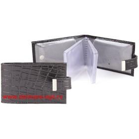 Визитница горизонтальная    (вкл 18 л)    с хлястиком,    н/к,    крок;    черный;    тисн Cards