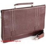 Портфель искусственная кожа Cantlor-375-02,    5отд+отд д/ноут,    2внеш+2внут карм,    плеч рем,       (УЦЕНКА царапина н аручках)    коричневый