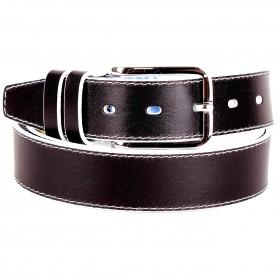Ремень 35 мм BLACK TORTOISE взрослый 7001161 гладк,    1стр,    черный    (бел бока)