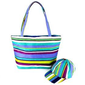 Комплект 117   (сумка пляжная+бейсболка)    текстиль 2905-HJ-137,    1отд,    полоска голубой