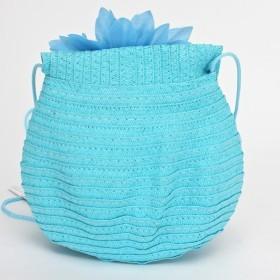 """Сумка женская текстиль 669-66911 """"  Цветок"""" ,    1отд,     голубой"""