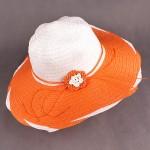 Шляпа женская текстиль    (D=41)    Анжелика-цветок,    424-5 оранжевый