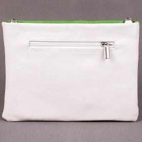 Сумка женская искусственная кожа Фантазия 413-25;    1отд+плеч/рем,    ручка/петля,    белый+зелены SALE