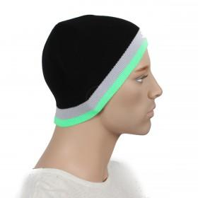 Шапка мужская DMD-КО-030    (одинарная);    шерсть 60%,    полиэстер 40%,    черный+зеленый