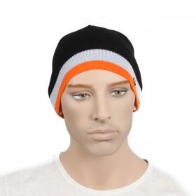 Шапка мужская DMD-КО-030    (одинарная);    шерсть 60%,    полиэстер 40%,    черный+оранж