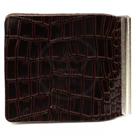 Зажим для купюр Premier-Z-1    (зажим-скрепка)    натуральная кожа коричн.темный крокодил мелкий   (112)