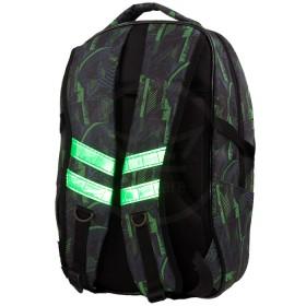 Рюкзак Shveika-123,    жесткое эргон спинка,    1отд+2внеш карм,    светоотр,    серый/зеленый    (рисунок)