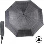 Зонт муж TR-3310,    R=56см,    полуавт;    8 спиц - сталь-fiber;    3 слож,    полиэстер,       (мелкая клетка)    серый