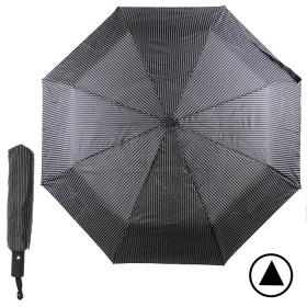 Зонт муж TR-3310,    R=56см,    полуавт;    8 спиц - сталь-fiber;    3 слож,    полиэстер,      (полоски)    черный