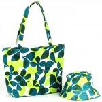 Комплект 118   (сумка пляжная+панама)    текстиль 067-HJ-118,    1отд,    цветы зеленый