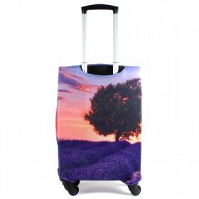 """Чехол для чемодана 24-M""""     (24""""  -70л) ,    полиэстер 100%,       (Дерево)    фиолетовый"""