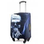 "Чехол для чемодана 24-M""     (24""  -70л) ,    полиэстер 100%,       (Череп)    серый"