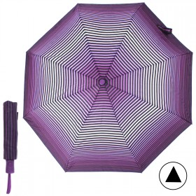 Зонт женский TR-35179,    R=56,    полуавт;    8спиц-сталь;    3слож;    полиэстер,       (полоски)    фиолетовый