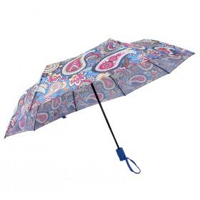 Зонт женский TR-5412BG,    R=56см,    полуавт;    8спиц-сталь+fiber;    3слож;    полиэстер,      (узор)    синий