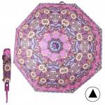 Зонт женский TR-5412BG,    R=56см,    полуавт;    8спиц-сталь+fiber;    3слож;    полиэстер,      (узор)    розовый