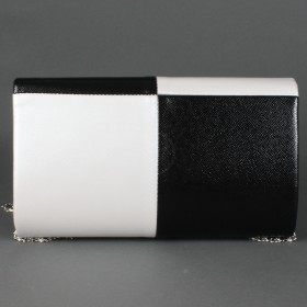 Сумка женская искусственная кожа 17065,    1отд,    ремень-цепочка,    черн/белый