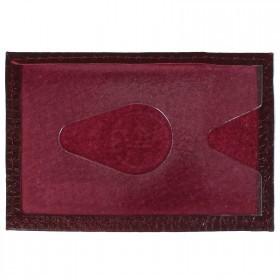 Обложка пропуск/карточка/проездной Croco-В-200 натуральная кожа бордо флотер   (120)
