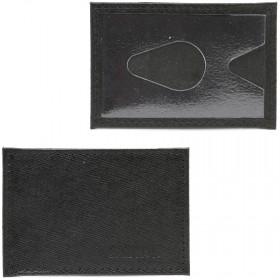 Обложка пропуск/карточка/проездной Croco-В-200 натуральная кожа черный сафьян   (221)